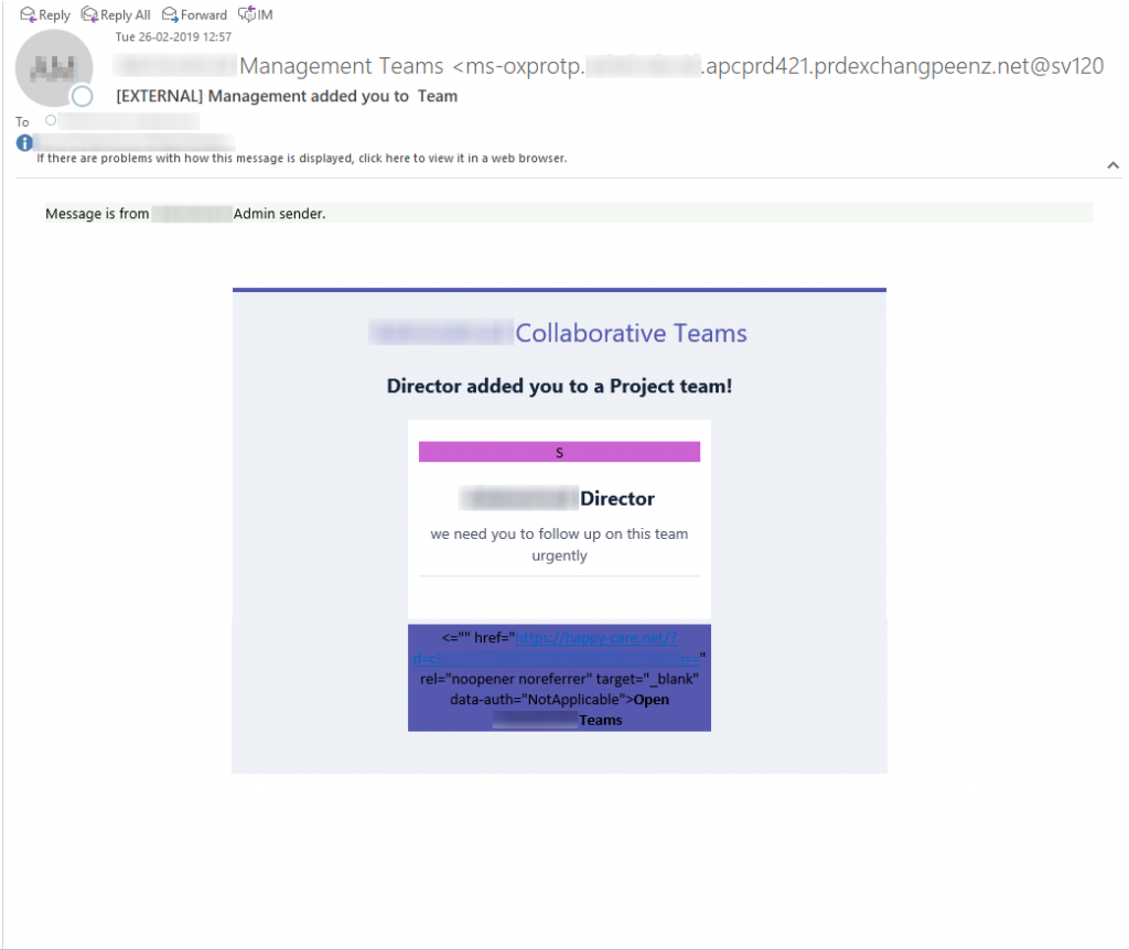Attention O365 Admins, A new phishing attempt targeted on Office 365 users.