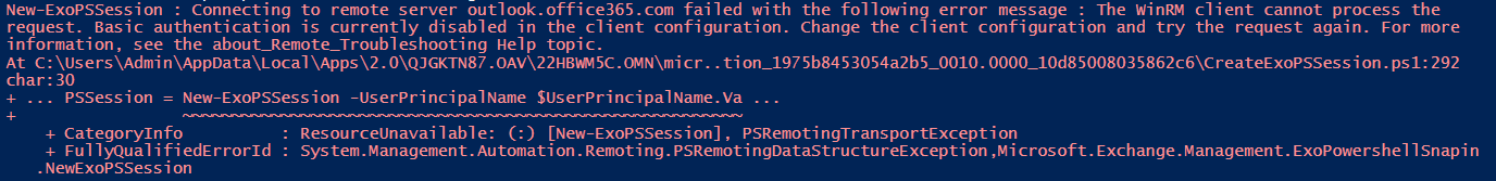 The WinRM client cannot process the request. Basic authentication is currently disabled in the client configuration. Change the client configuration and try the request again.