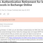 Deprecation of Basic Authentication in Exchange Online