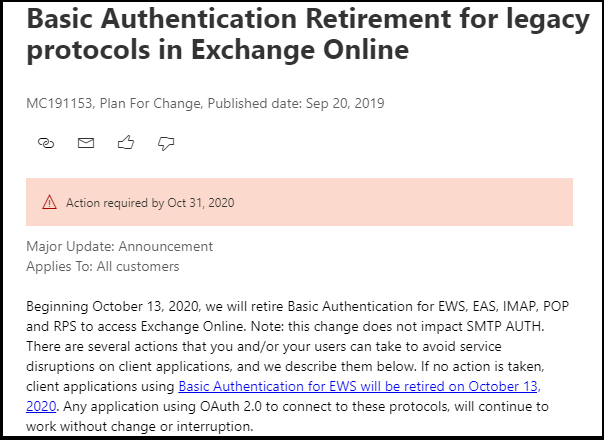 End of Basic Authentication in Exchange Online