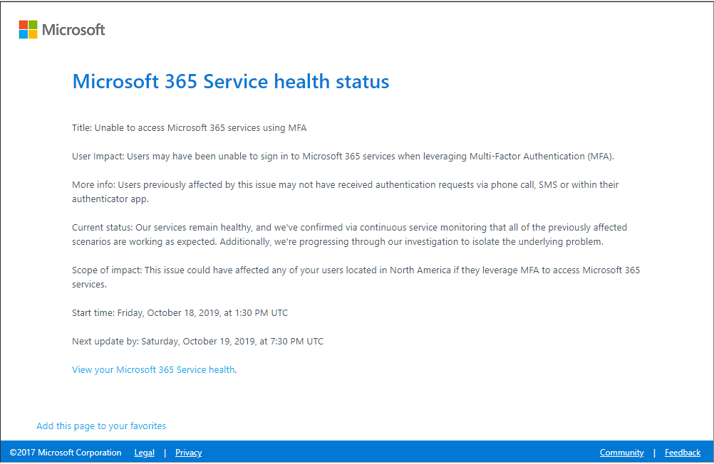 Microsoft Office 365 MFA Outage