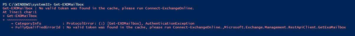 Connect-ExchangeOnline ExchangeOnlineManagement