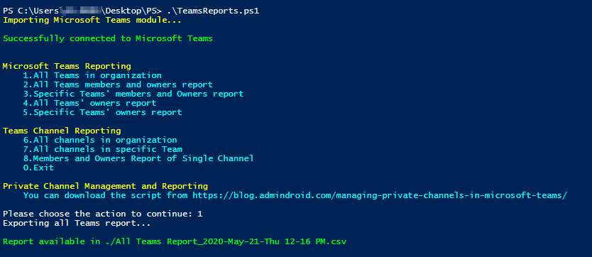 Microsoft Teams Reporting PowerShell