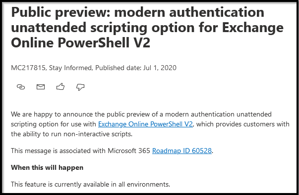 Unattended script Exchange Online PowerShell V2