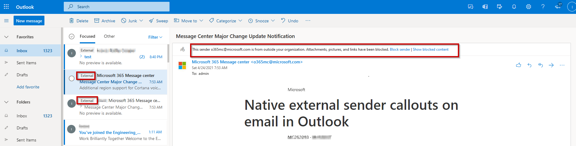 External email warning