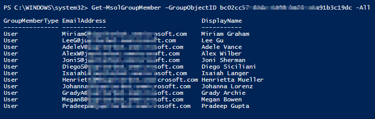Office 365 group members report