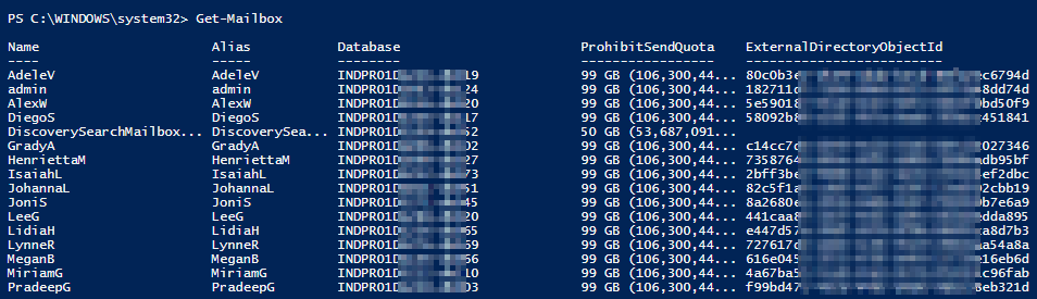 List all mailboxes PowerShell