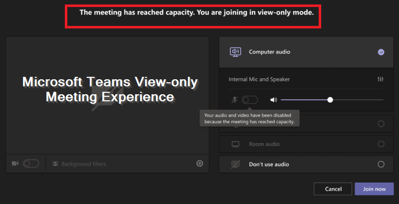 enable Teams view only meeting