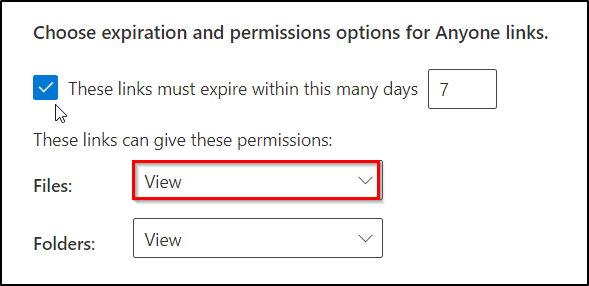 External sharing permissions