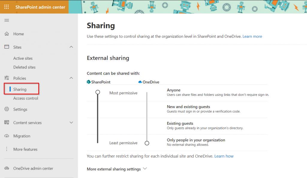 SharePoint external sharing