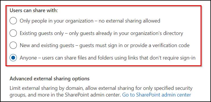 External sharing settings